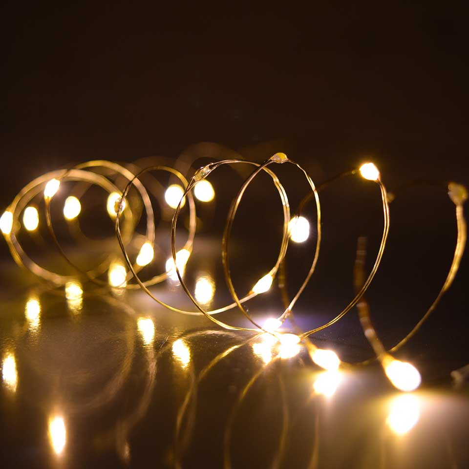 Warm White Ultra Thin Twinkling Fairy Lights - 30 Lights - 60 Inches