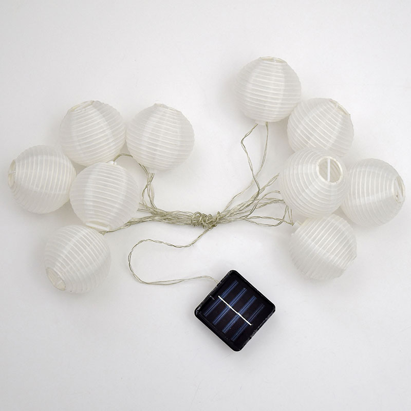 Solar Mini Lights On String : LED Solar Powered White Nylon Lantern String Lights