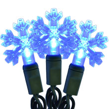Snowflake Shaped LED String Lights - 35 Blue Lights 713444