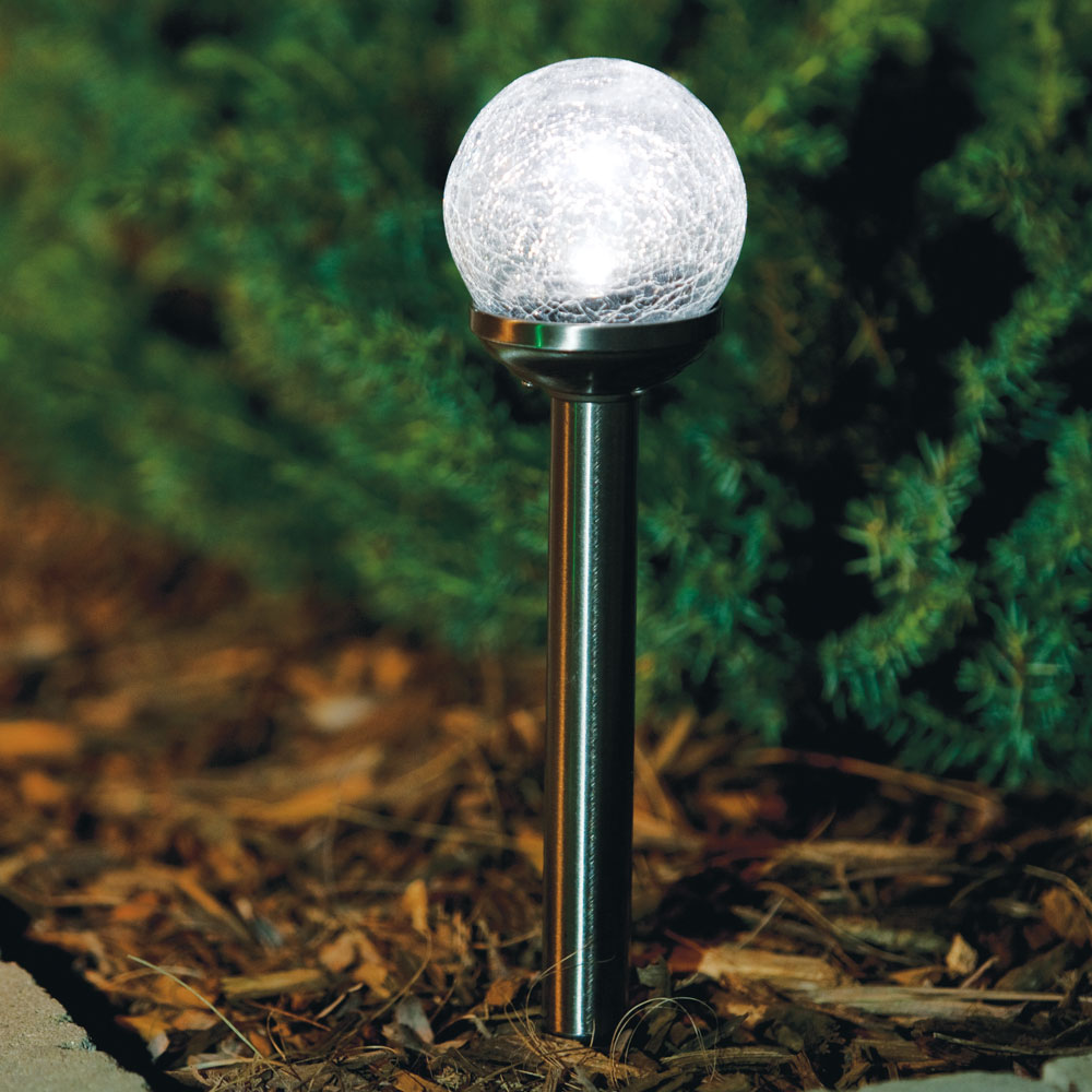 Crackle Ball Solar LED Stake Light - 12-Pieces