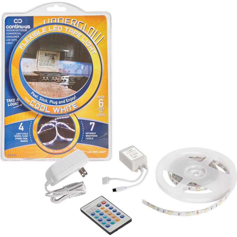 Underglow plug in cool white led tape light starter kit aloadofball Images