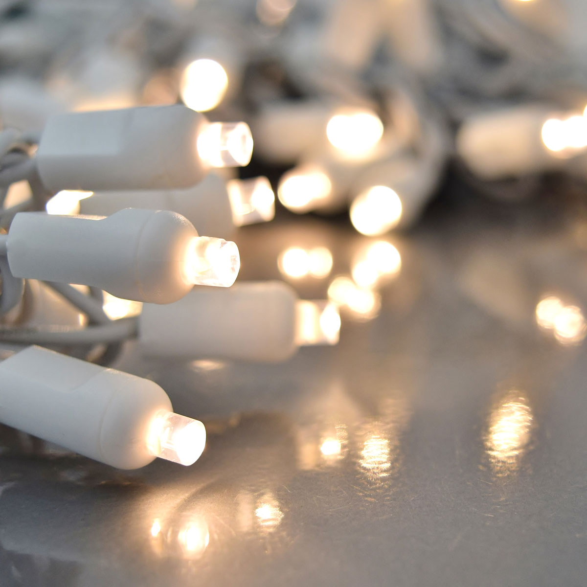 Warm White LED String Light Set - 100 Lights - White Wire
