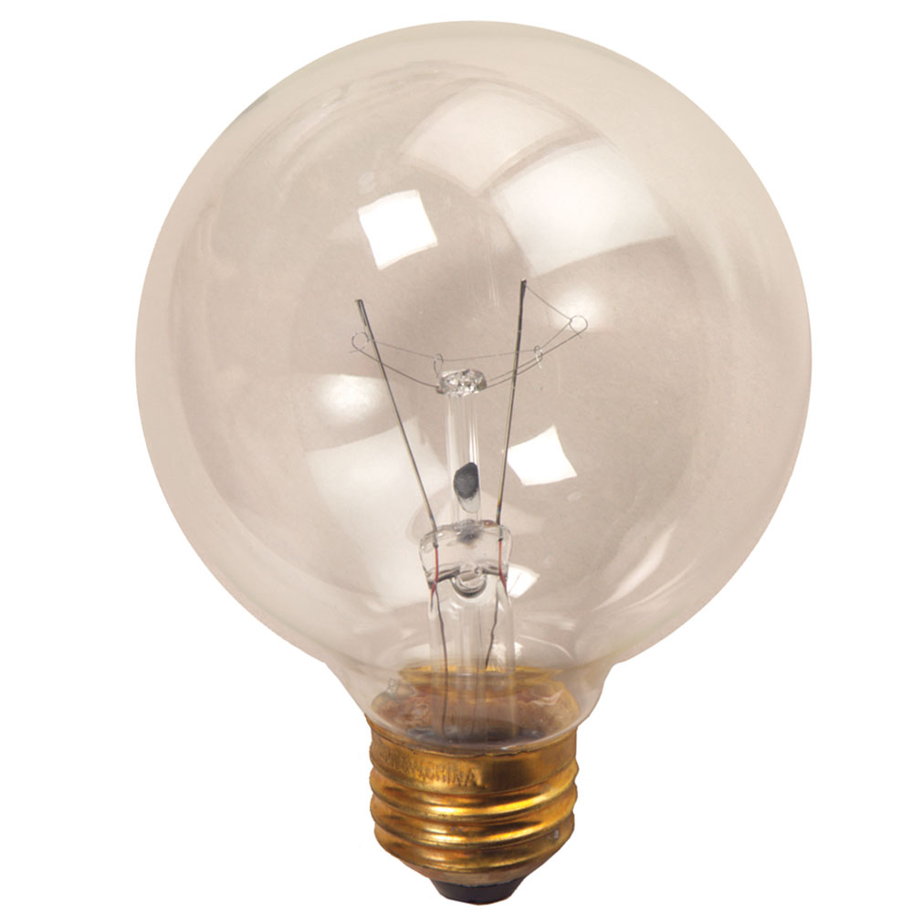 3 Clear Medium Base Decorative Globe Light Bulb 25 Watt