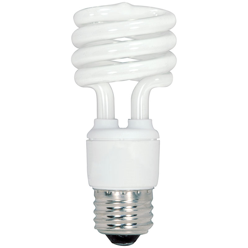 13W T2 Spiral CFL Light Bulbs - Warm White