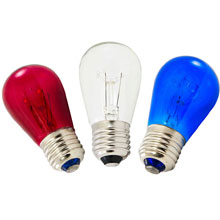 Red, White & Blue Transparent Light Bulbs