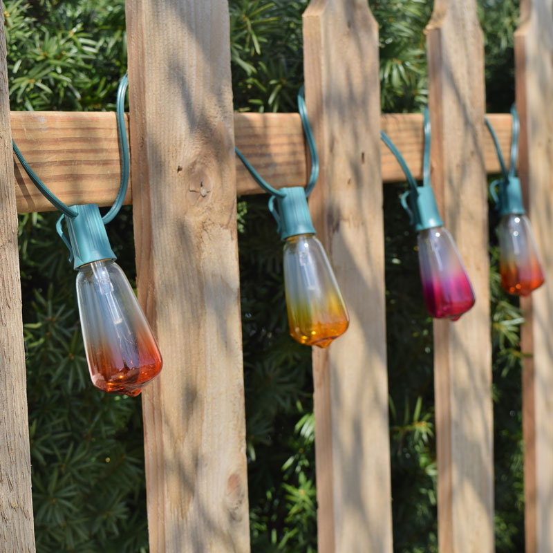 Fall Color String Lights : Set of 10 Multi Color Ombre ST40 Edison Style Lights