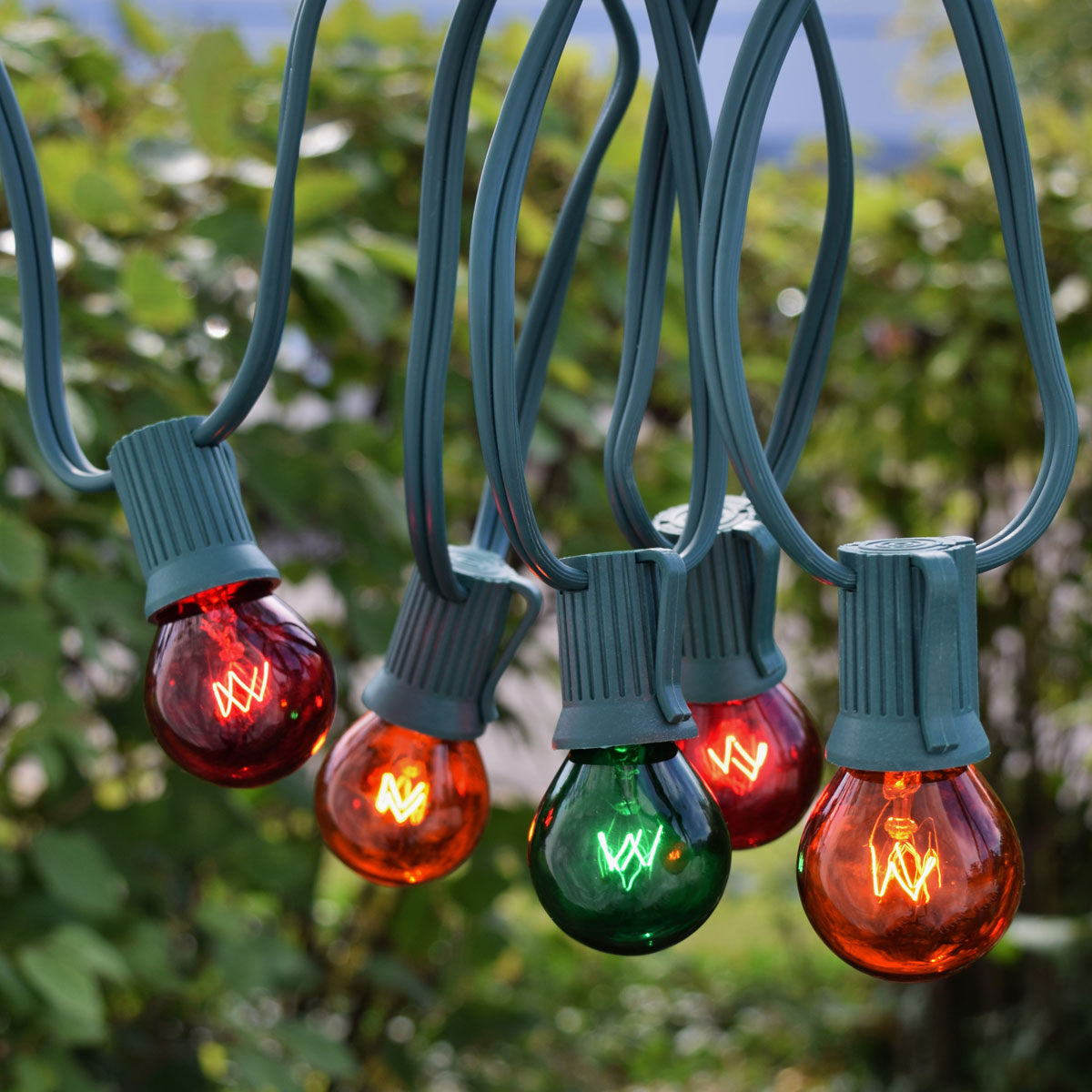 25' C9 Red, Green, Orange Globe String Lights - Green Wire