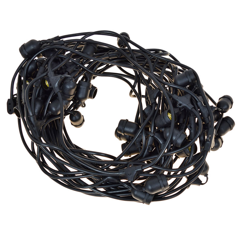 100' Amber LED Commercial Globe Light Strand Kit - Black Suspended - Plastic