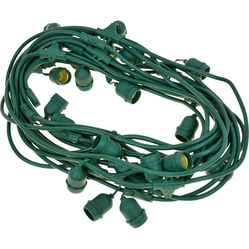 48' Green Commercial Light Strand - Medium Base - Suspended