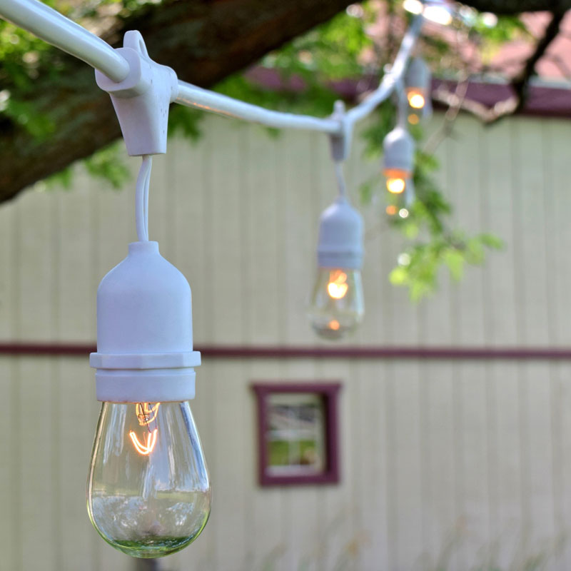 White String Garden Lights : White Outdoor String Lights - 48 OogaLights Pro Series HD