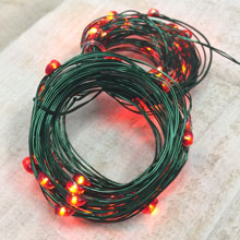 Orange Angel Tear Micro String Lights - Green Wire - 60 LED Lights
