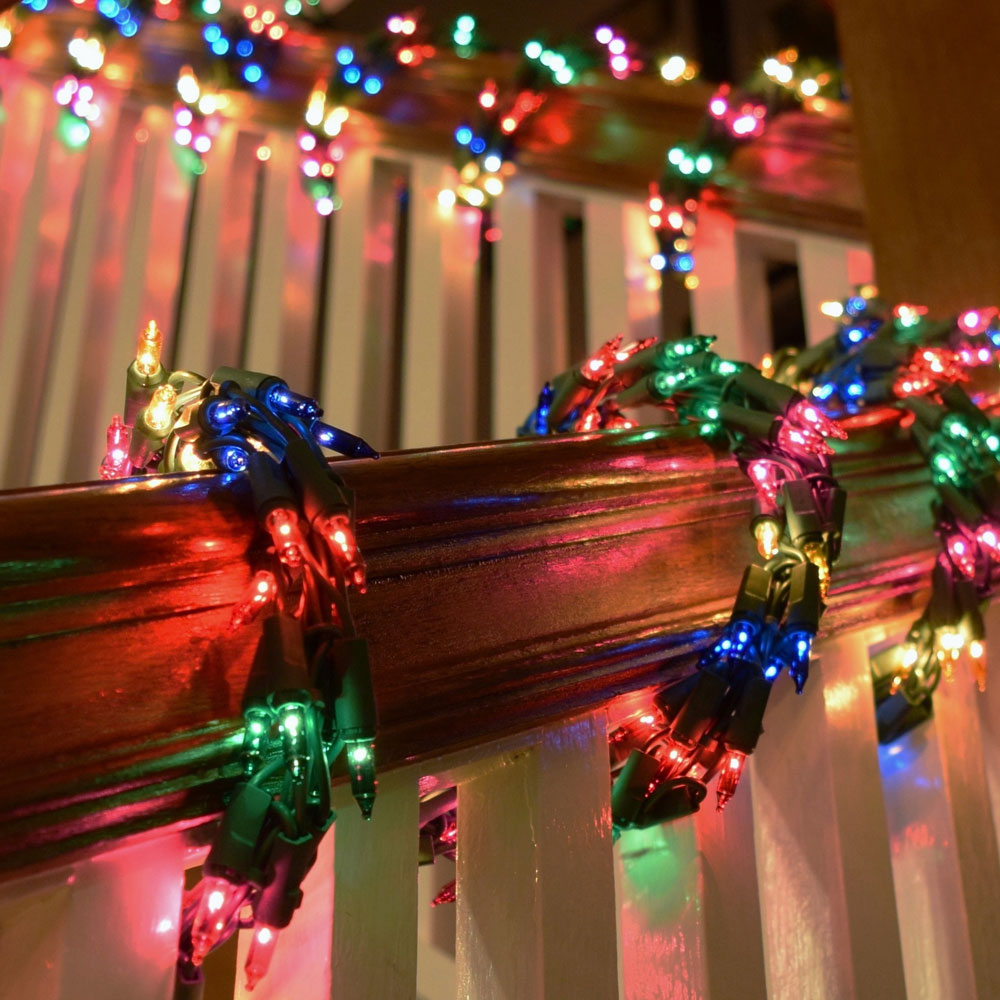 Multi color cluster garland light set green wire