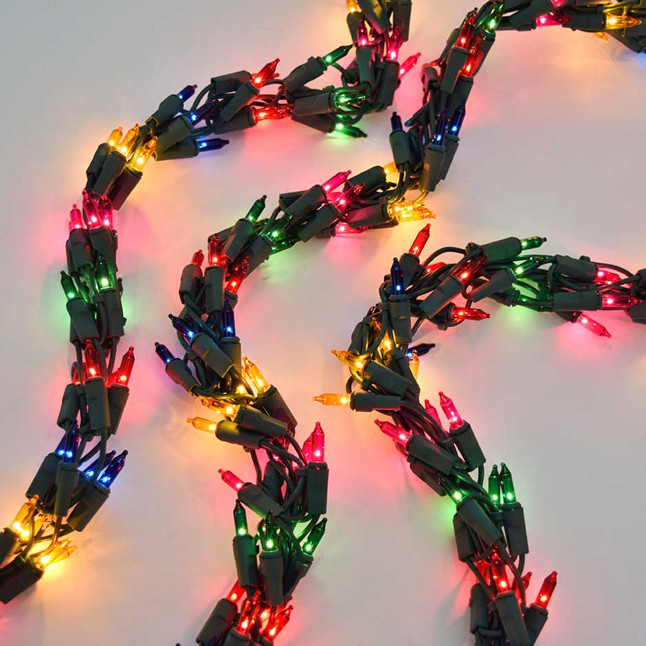 Garland Style String Lights : 600 Multi-Color Cluster Garland Light Set - Green Wire