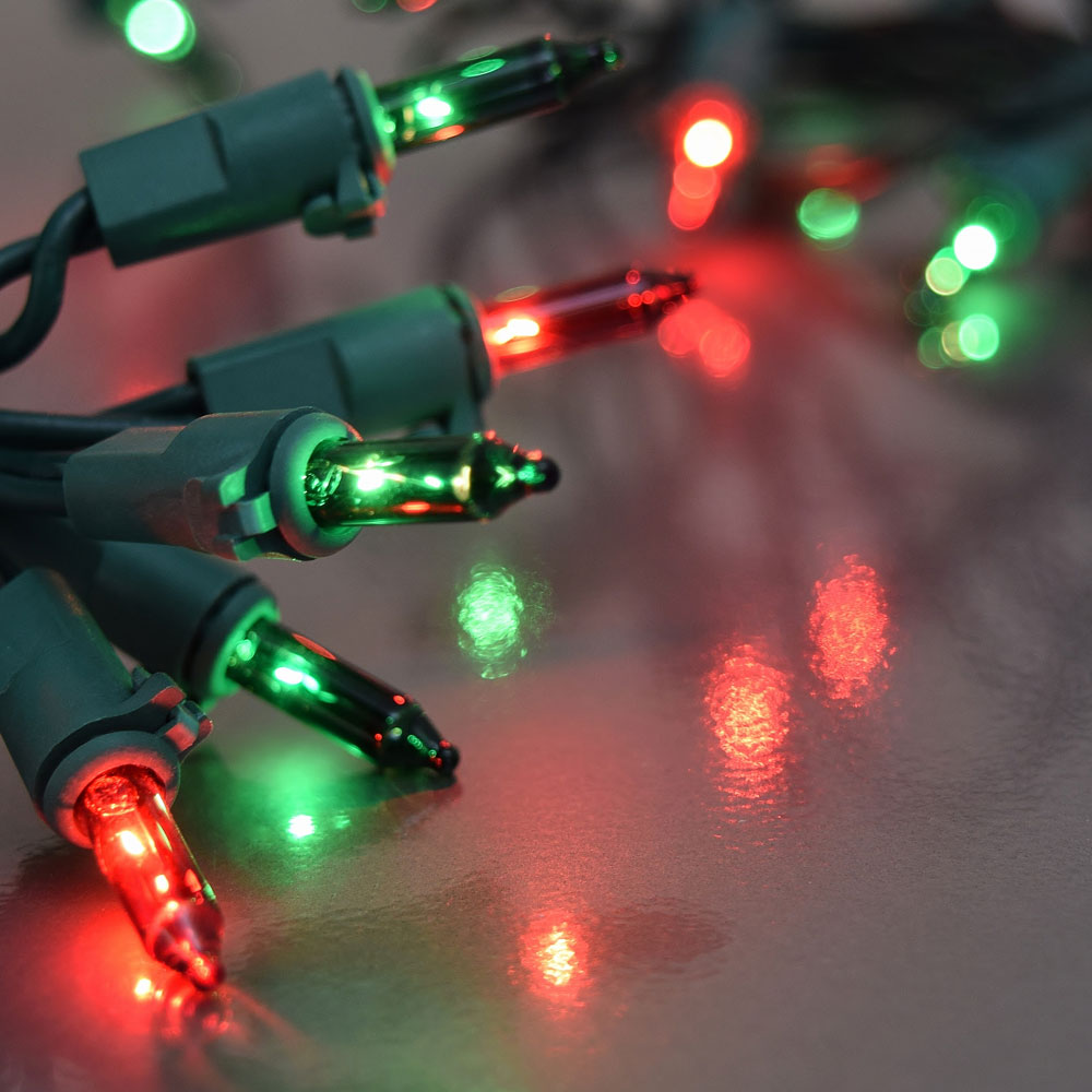 String Lights Green : 8 Function Red and Green Christmas String Lights