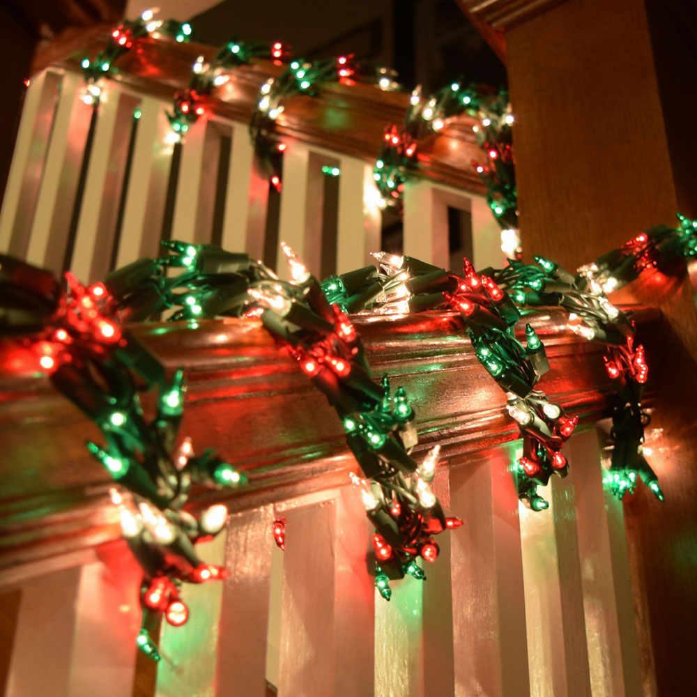 Red green clear garland christmas lights