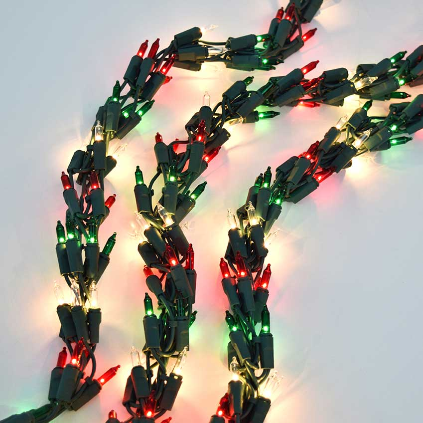 Red, Green & Clear Garland Christmas LIghts - 18'