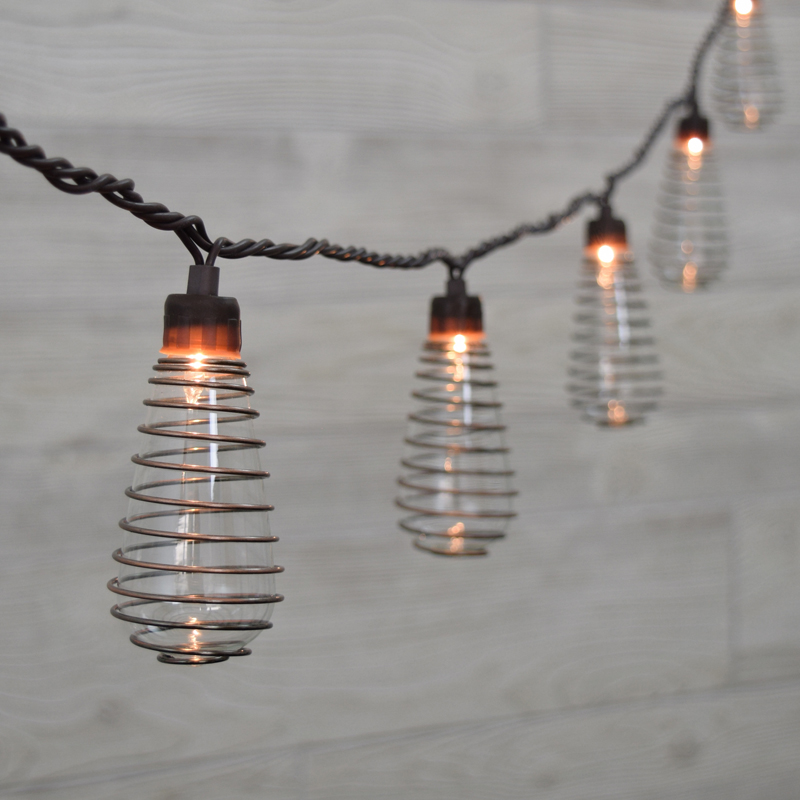 String Lights With Wire : Wire Spiral Patio String Lights