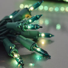 100 Count Indoor/Outdoor Miniature String Light Strand Set - Green Wire - Teal Lights