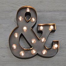 "Metal LED ""&"" Marquee Light - 12"" x 13""                         CCO-3668"