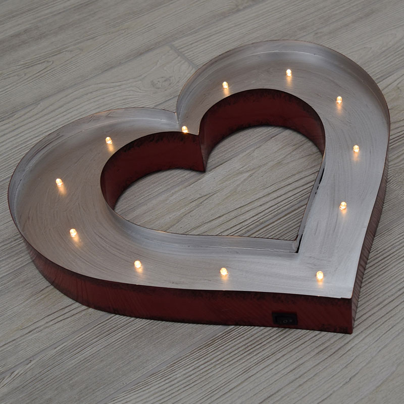 Heart Wall Sign with LED Lights - 14""