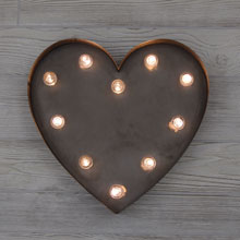 "Metal LED Heart Marquee Sign - 14""L x 13""H CCO-3666"