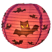 Purple Bats Halloween Paper Lantern