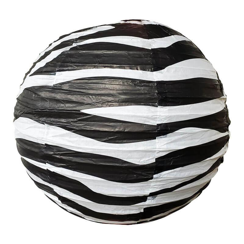 Zebra Lantern String Lights : Zebra Striped Paper Lantern - 14