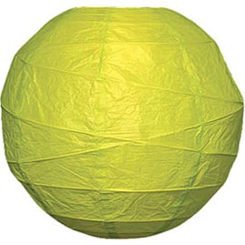 "Chartreuse Green 14"" Round Rice Paper Lantern - Solid Color Round Paper Shade Lanterns"