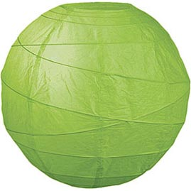 "Grass Green 14"" Round Rice Paper Lantern - Solid Color Round Paper Shade Lanterns"