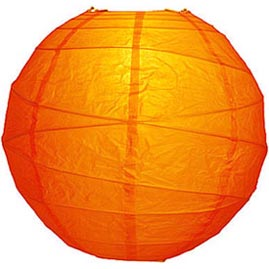 "Mango Orange 14"" Round Rice Paper Lantern - Solid Color Round Paper Shade Lanterns"