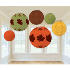 Fall Lantern Value 6 Pack - Orange, Green, Yellow & Brown
