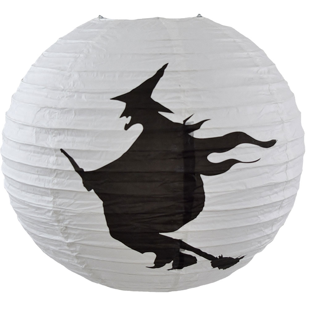 "Flying Witch Paper Shade Lantern - 16"" Dia. - White/Black"