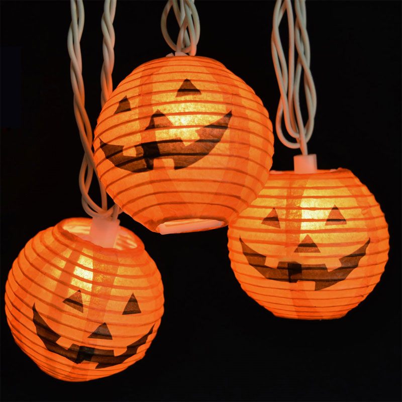 Orange Pumpkin Halloween Lantern String Lights