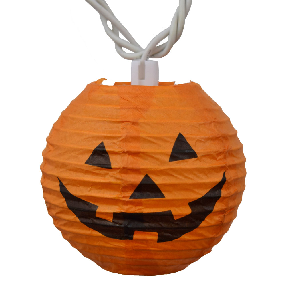 Orange Pumpkin Halloween Lantern String Lights - 10 Lights