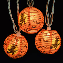 Witch w/ Flying Bats Halloween Lantern Party String Lights - 10 Lights