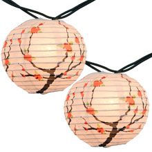 Cherry Blossom Paper String Light Lanterns Strand