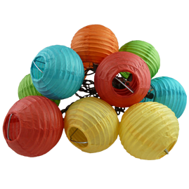 Multi-Color Mini Round Rice Paper Lantern String Light Set - 10 Lights - Mini Paper Shade Stringlight Lanterns
