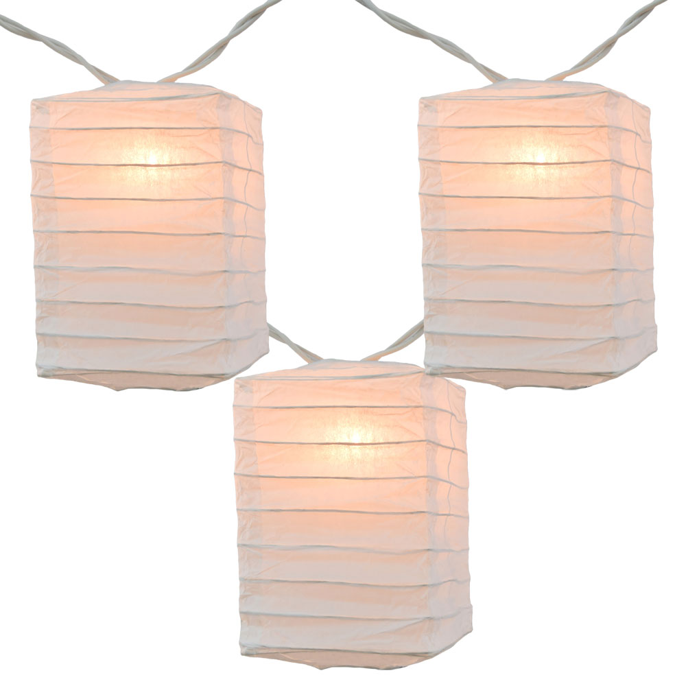 Box Shaped White Paper String Light Lanterns - Mini Paper Shade Stringlight Lanterns