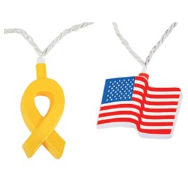 Yellow Ribbon & American Flags Party String Lights - Patriotic String Light Strands & Sets
