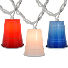 Red White Blue Party Cup String Lights