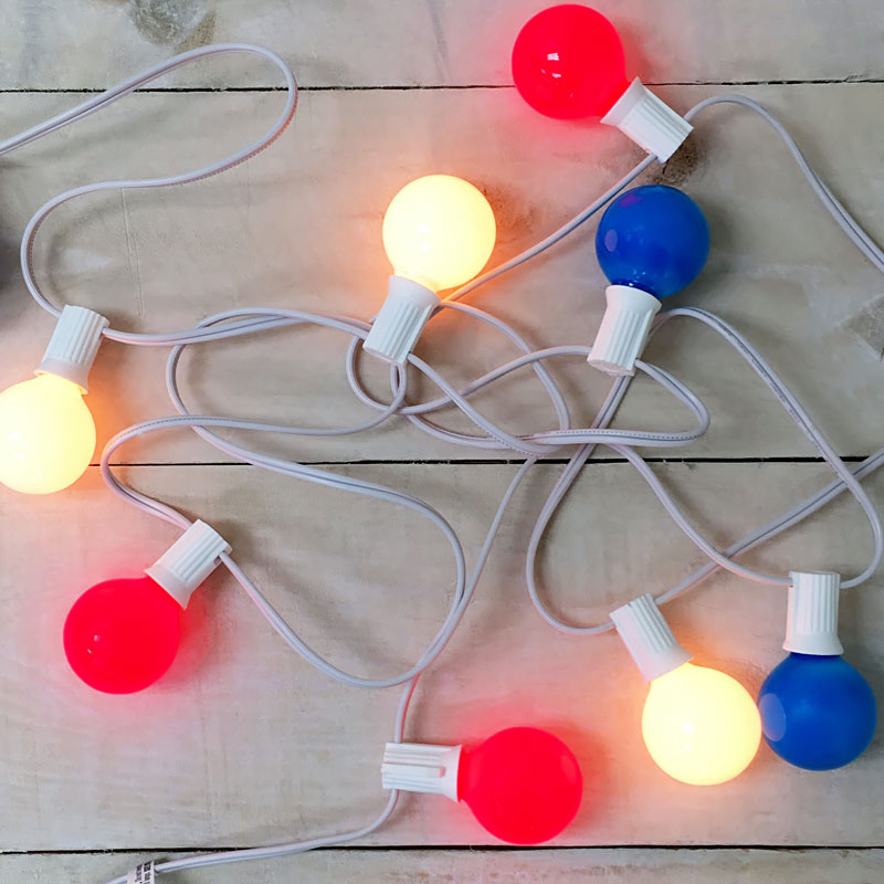 Red White & Blue G40 Globe String Lights