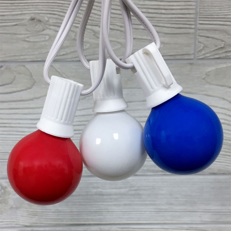 Red, White & Blue G40 Globe Party String Lights