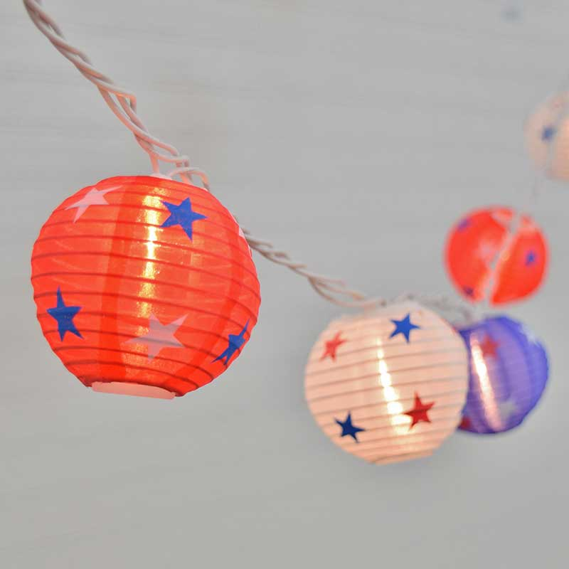 Patriotic Lantern Party String Lights - Red White & Blue - 10 Lights GC2262310
