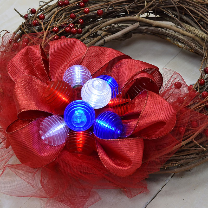 Red White & Blue Shimmer Globe LED Lights - Battery Operated