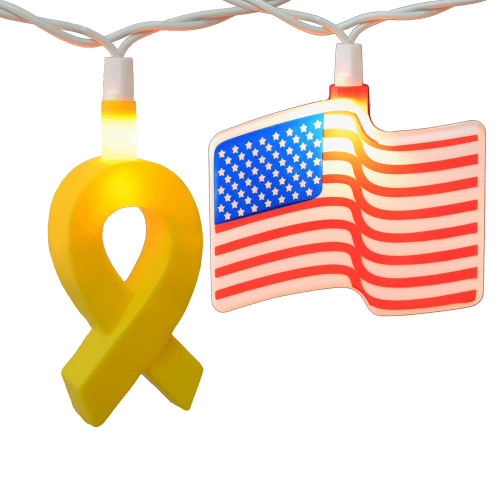 Yellow Ribbon and American Flag string lights