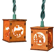 Wooden Lantern Bear & Deer String Lights - 10 Lights