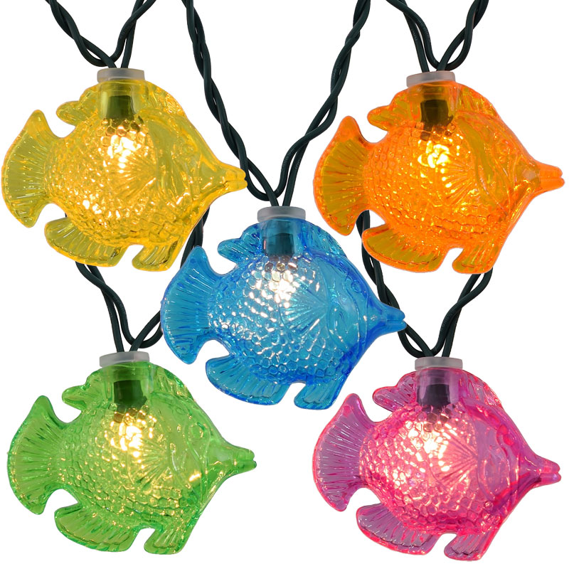 Colorful tropical fish novelty string lights for Fish string lights