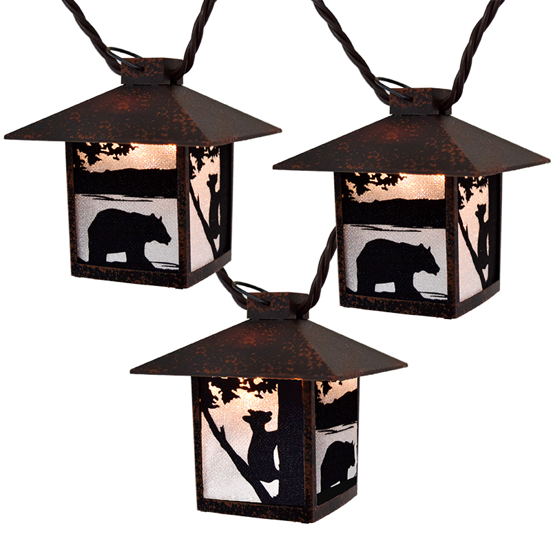 Wilderness Bear Silhouette Lantern String Lights
