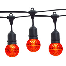 21' Red LED Globe Light Strand Kit - Black Suspended Wire