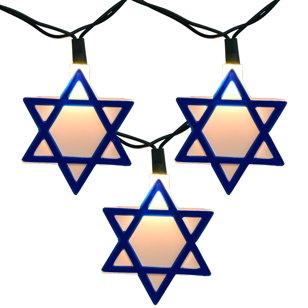 Blue Hannukkah Star of David Party String Lights
